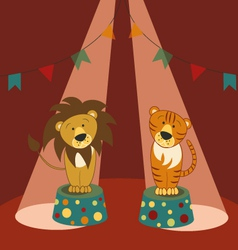 Lion and tiger in circus vector