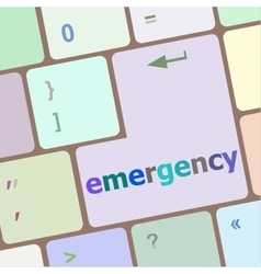 Emergency word on keyboard key notebook computer vector
