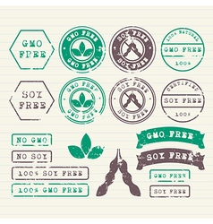 Gmo and soy free stamps set vector