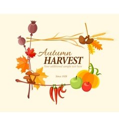 Autumn harvest frame for vector image