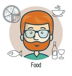 Avatar man with food design vector