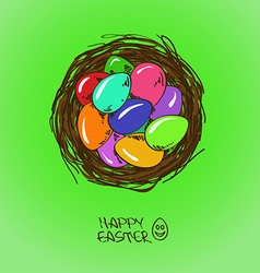 Bird nest with Easter eggs vector image