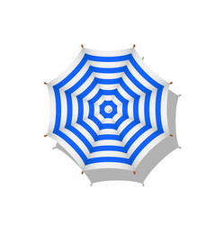 Blue and white striped beach umbrella with shadow vector