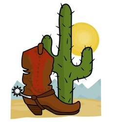 cowboy boot and cactus vector image