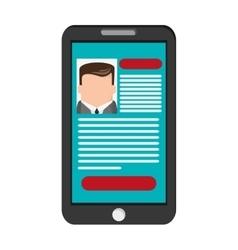 Curriculum vitae cv on cellphone screen icon vector