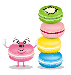 cute macarons cartoon vector image