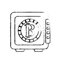 Figure strongbox open with bitcoin currency inside vector