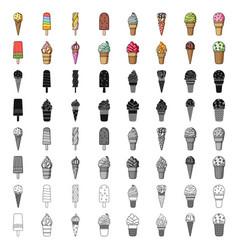 ice cream set icons in cartoon style big vector image