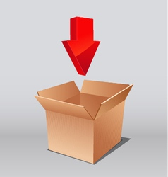 open box for download with arrows vector image vector image