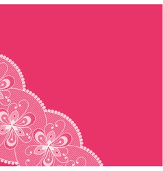 Pink background with lacy corner vector