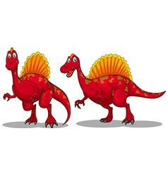 Red dinosaurs with sharp teeth vector