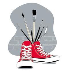 Red sneakers vector