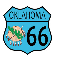 Route 66 oklahoma sign and flag vector