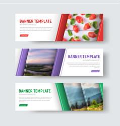 Set of white horizontal web banners vector
