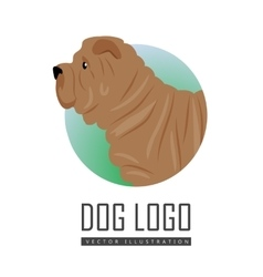Shar Pei Dog Logo on White Background vector image vector image