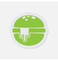 simple green icon - hamburger with melted cheese vector image vector image