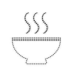 Soup sign black dashed icon on white vector