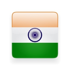 Square icon with flag of India vector image vector image