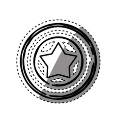 Star in round emblem vector