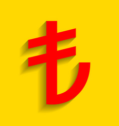 Turkiey lira sign red icon with soft vector