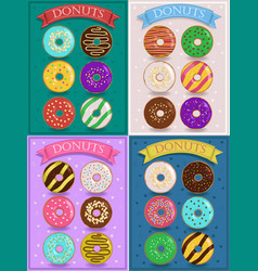 Vintage cards with colorful donuts vector