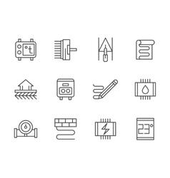 Warm floor black line icons set vector