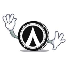 Waving dentacoin mascot cartoon style vector