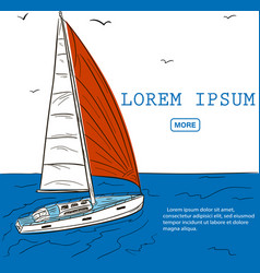 Yacht race poster design with sail boat sketch vector