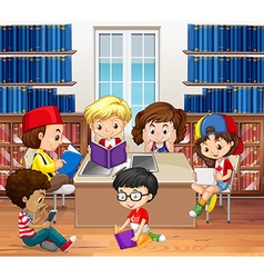 Boys and girls reading in library vector