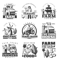 Farm House Emblems Set vector image