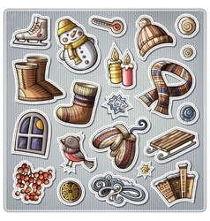 Set of winter season cartoon stickers vector