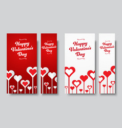 Set of vertical web banners happy valentines day vector