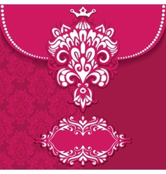 Pink luxury royal card frame vector