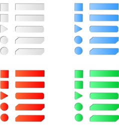 Blank colored internet web button set vector