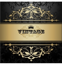 Vintage background with golden pattern vector