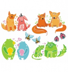 Valentine animals vector