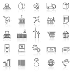 Supply chain line icons with reflect on white vector image