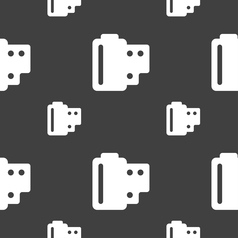 35 mm negative films icon sign seamless pattern on vector