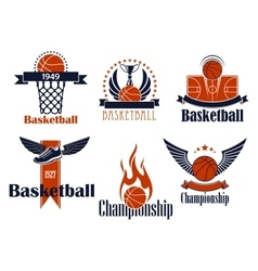 Basketball sport icons with game items vector image
