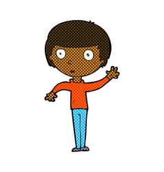 Comic cartoon waving boy vector