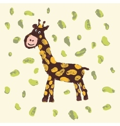 Giraffe with smile Child drawing vector image
