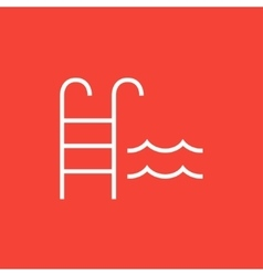 Swimming pool with ladder line icon vector