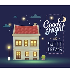 Night house with street lamp and bush on vector