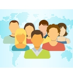Set of People Icons with Earth Map on Background vector image