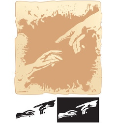 Two hands stylized for michelangelo creation mural vector