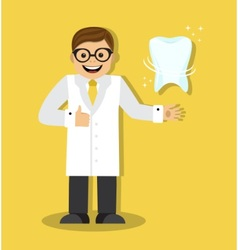 dentist and a healthy tooth vector image
