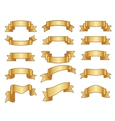 Gold ribbon banners set vector