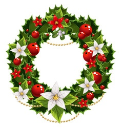 Christmas green and red embellishment vector