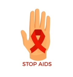 Aids awareness icon palm with the red ribbon loop vector image