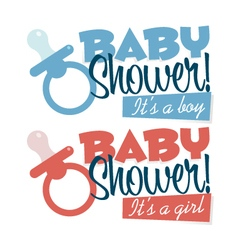 Baby shower pacifiers emblems vector